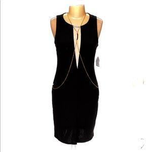 Body Central Sleeveless Black Dress W/Chain-XL-NWT